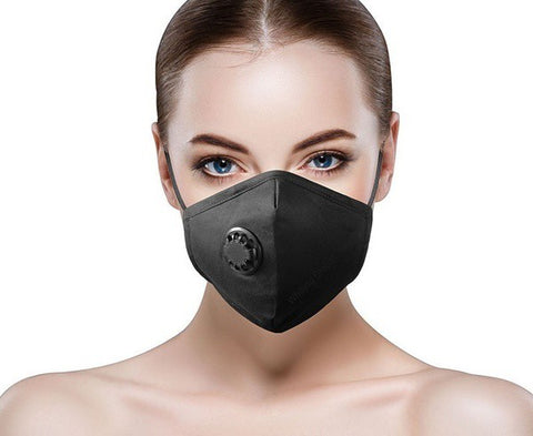 100% Cotton 4 Layered Face Masks w/ Respirator Valve with 1 Filter and Adjustable Straps
