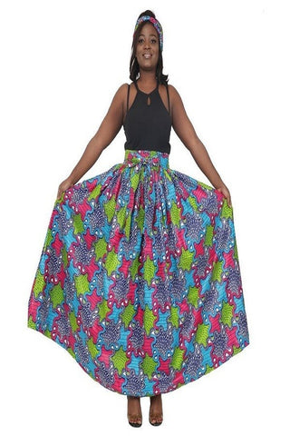 Fuschia, Lime Green & Royal Blue Puzzle Maxi Skirt w/pockets (ONE SIZE)
