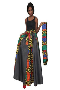 Ankara and Denim Skirt, Head Wrap Included (One Size)