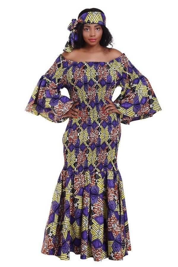 You Are Royal African Print Mermaid Dress w/Headwrap (One Size)