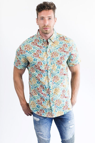 Classic Floral Short Sleeve Linen & Cotton Blend Men's Shirt