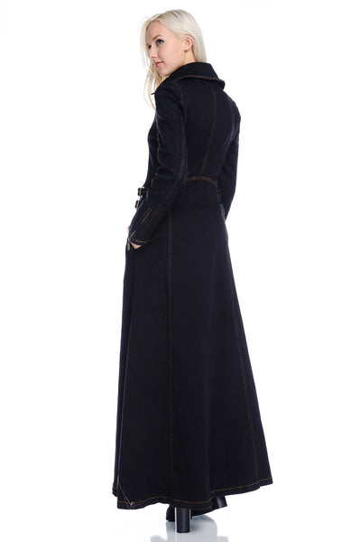The Natalie Denim Lined Maxi Coat w/Pockets