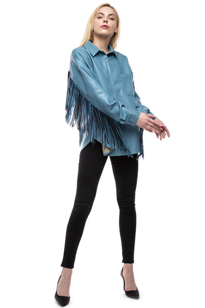 Let's Be Fringe Vegan Leather Shirt