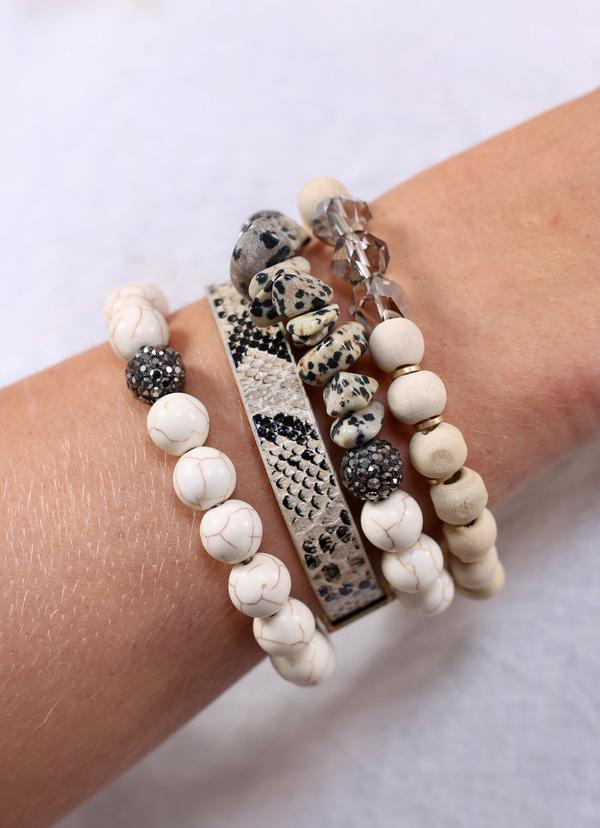 Ivory Beaded And Animal Print Bracelet Set
