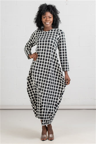 Squared Up Black & White Oversized Dress w/Pockets