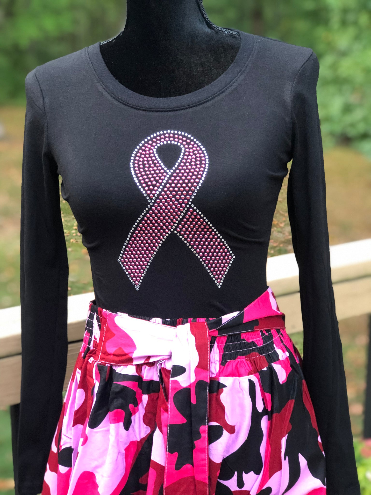 Large Pink Ribbon Long Sleeve Bling T-Shirt