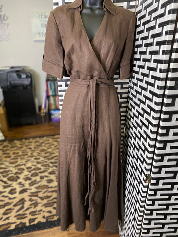 Brown Linen Maxi Dress