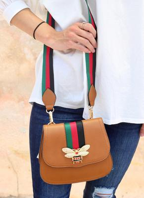 Saddle Bag With Embellished Bee And Red & Green Stripe Strap