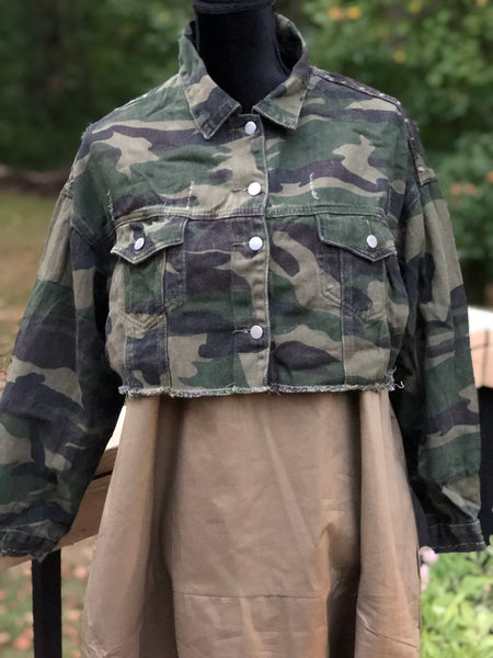 Camouflage Crop Denim Jacket