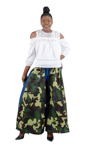 Camo & Denim Extra Wide Leg Palazzo Pants w/Pockets (ONE SIZE)
