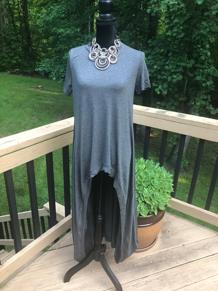 Relaxed Short Sleeve Free Flowing Hi-lo tunic-Long