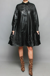 The Naomi Faux Leather A-Line Dress w/Side Pockets (more colors)
