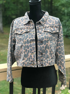 Leopard Print Crop Denim Jacket