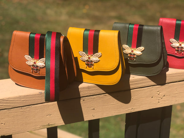 Saddle Bag With Embellished Bee And Red & Green Stripe Strap (more colors)
