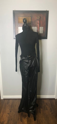 Black Faux Leather Belted Wide Leg Pant