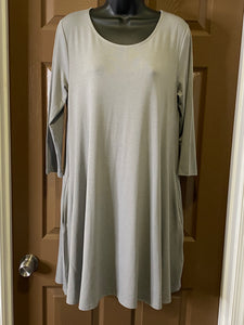 Grey 3/4 Sleeve Knit Swing Dress