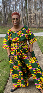 Color Block African Print Palazzo Pants w/Headwrap (One Size)