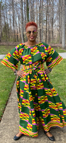Color Block African Print Off-Shoulder Top (One Size)