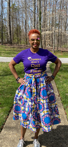 Purple & Yellow Plaid Star Midi Skirt w/Pockets (ONE SIZE)
