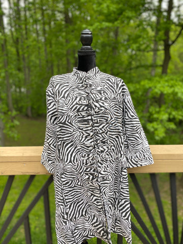 Zebra Print Mandarin Collar Jacket w/Side Splits (ONE SIZE)