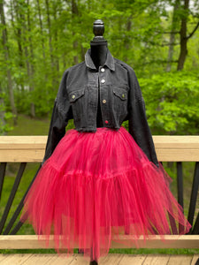 Red Extra Full TuTu Midi Skirt