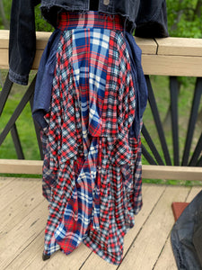 Denim  & Red Plaid Maxi Skirt w/Elastic Back Waistband