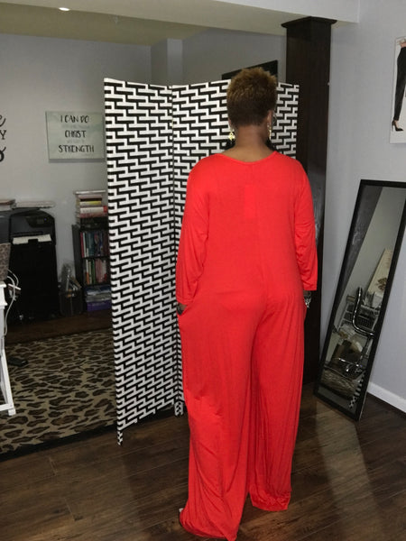 Michelle Wide Leg Knit Jumpsuit (One Size)
