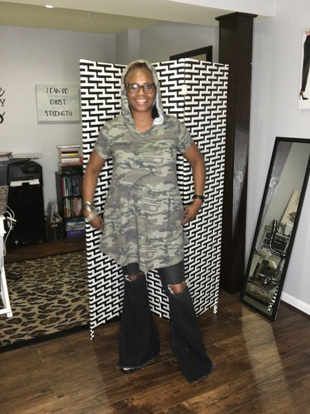 Camo Hoodie Knit Tunic with Pockets