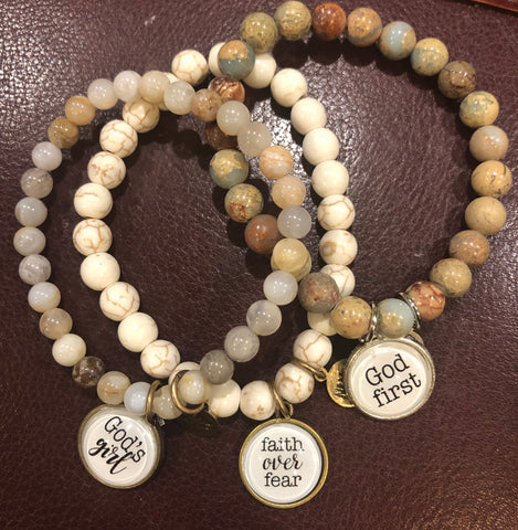 God's Girl, Faith Over Fear, God First Bracelet Set