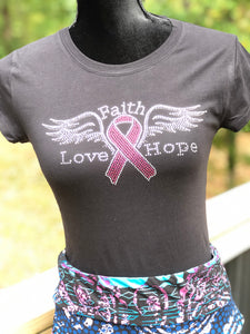 Faith, Hope, Love on Wings Breast Cancer Awareness T-shirt