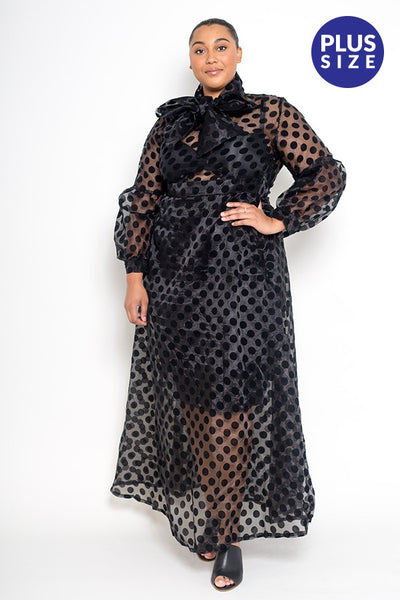 Plus Size Black Sheer Polka Dot Dress