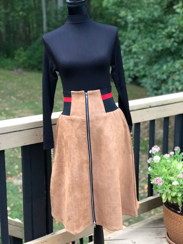 Khaki Zipper Front Skirt w/Black & Red Side Elastic Waistband