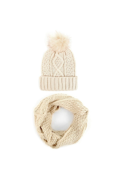 Ladies Knit Hat and Infinity Scarf Set