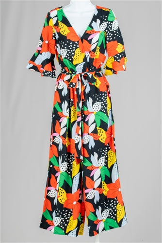 Ladybug Floral Print Wide Leg Jumpsuit w/Snap Front Closure (More Colors)
