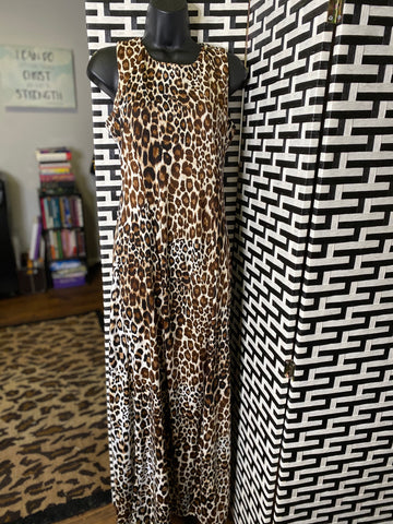Sleeveless Leopard Print Double Front Split Dress
