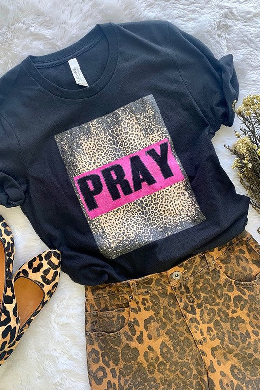 Black On Leopard Pray T-shirt