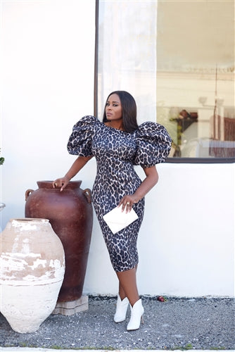 Puffed Up Leopard Print Puff Sleeve Dress