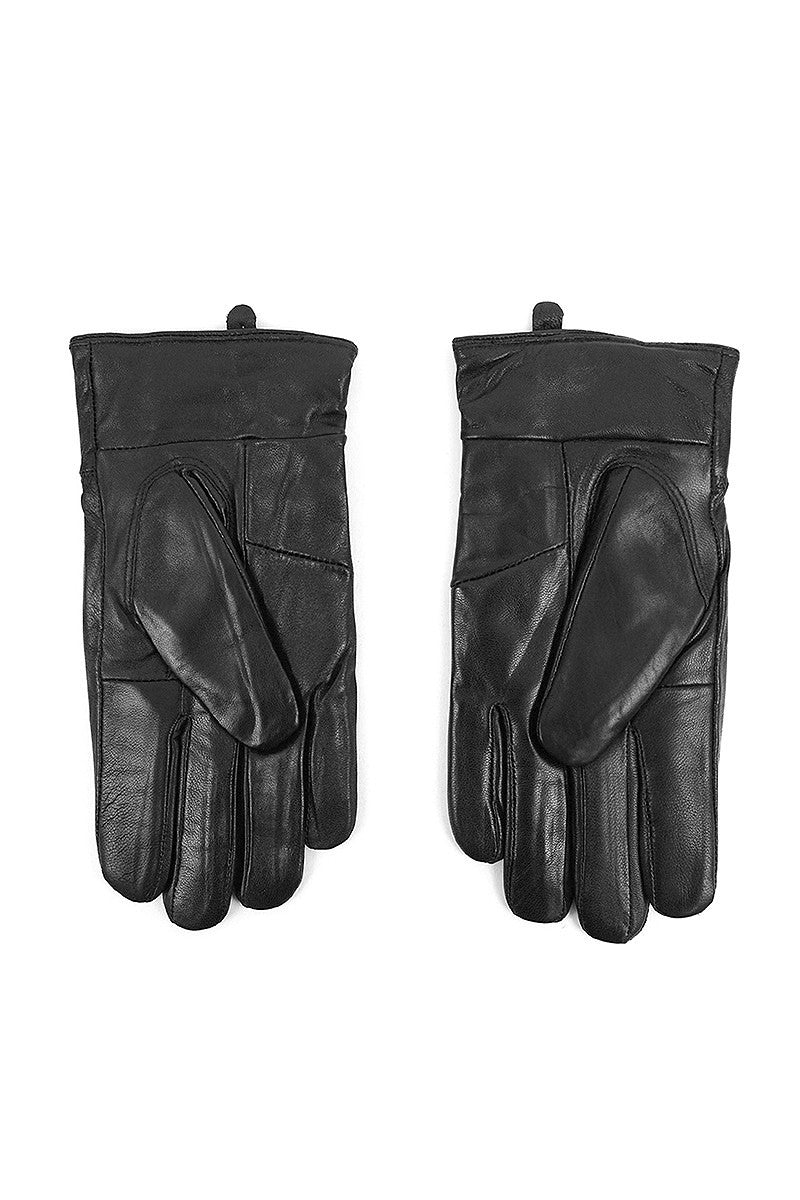 Men's Black Genuine Leather Winter Gloves w/Soft Acrylic Lining