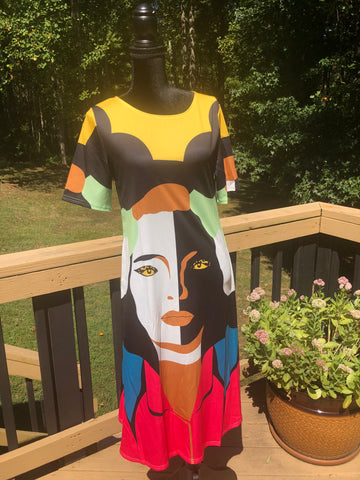 Short Sleeve Multi-colored Face Dress