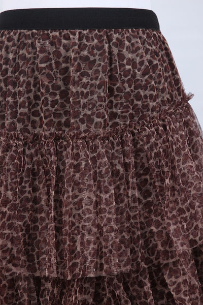 High Waist Ruffled Mesh Leopard Maxi Skirt