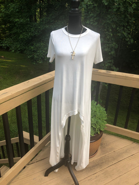 Let's Flow Short Sleeve Free Flowing Hi-lo Maxi tunic