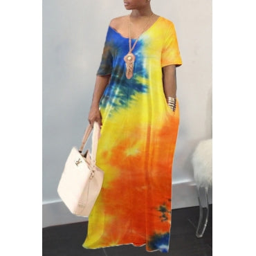The Promise Rainbow Tie Dye Maxi Plus Size Dress w/Pockets.