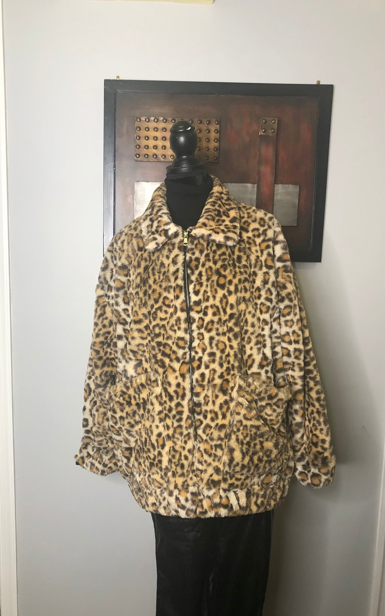 Oversized Leopard Faux Fur Jacket