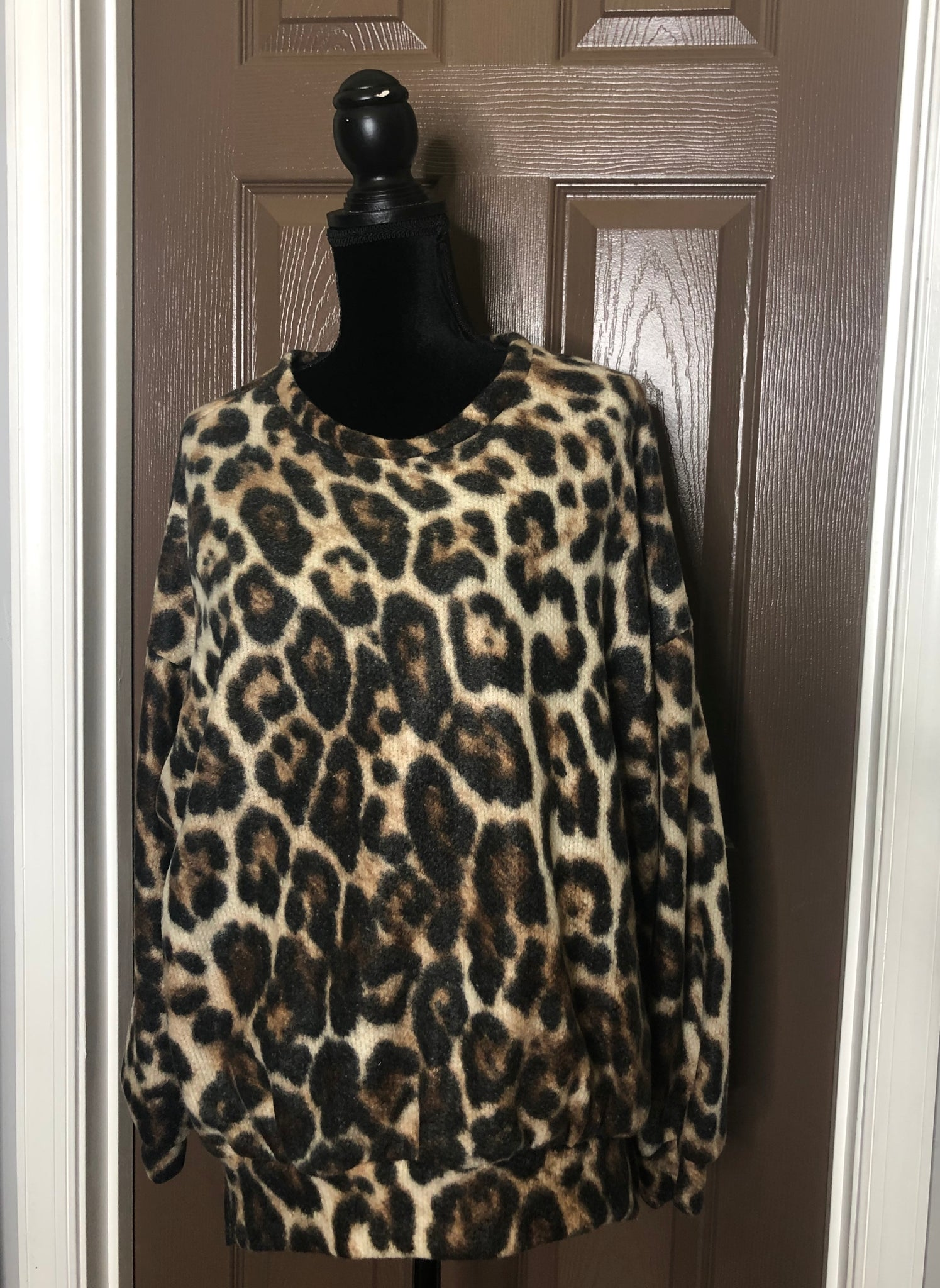 Oversized Leopard Print Top