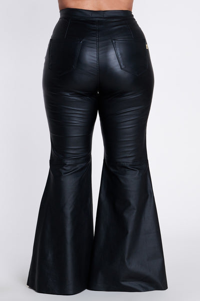 Rock The Bells Black Faux Leather Bell Bottom Pants