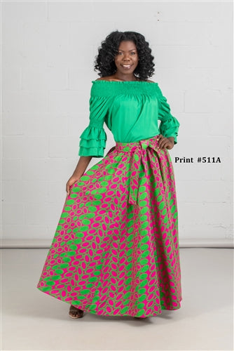 Pink & Green Circle Maxi Skirt w/Pockets and Head Wrap (One Size)