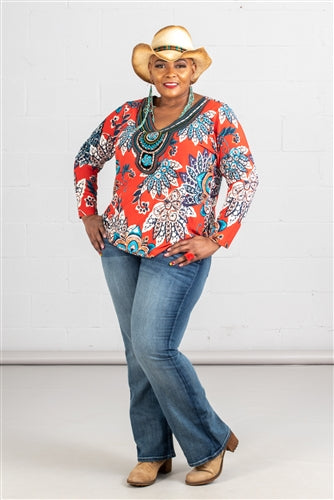 Oversized Southwestern Floral Top w/Bead & Embroidery Detail at Neckline (Plus Size)