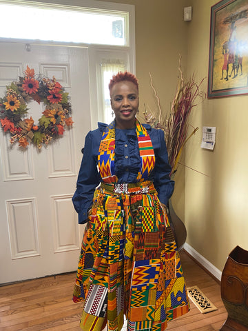 Traditional Kente Midi Skirt w/Headwrap (One Size)
