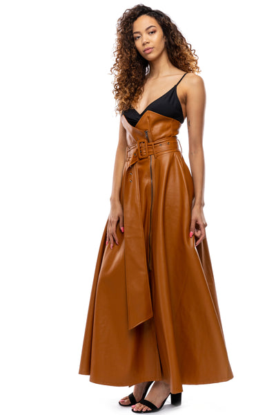 Highly Favored Vegan Leather Maxi Skirt w/Pockets (More Colors)