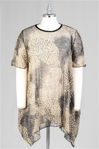 Back To The Jungle Oversized Sheer Animal Print Top w/Pockets (One Size)